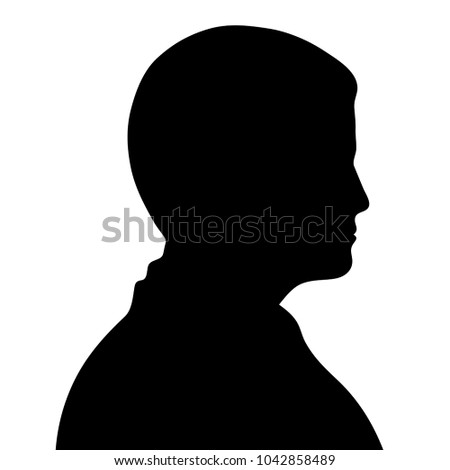 simple silhouette black of a man side view profile isolated on