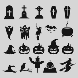 Simple silhouettes vector icons set for Halloween