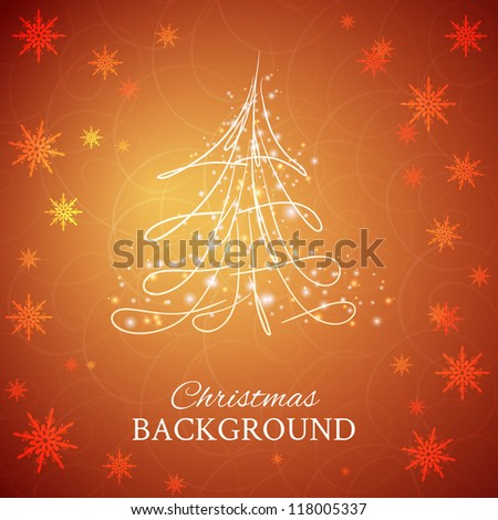 Simple sketch and glossy Christmas tree isolated on brown background