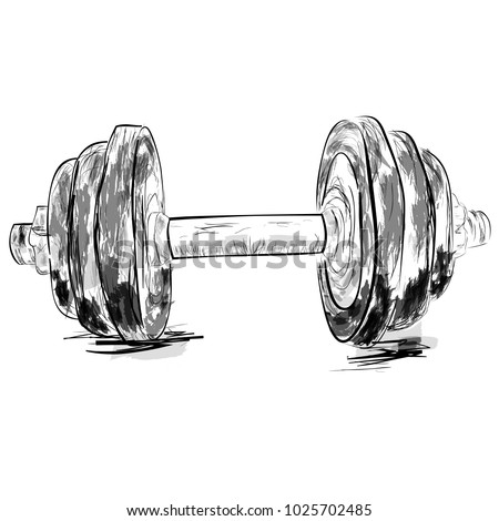 Simple Sketch of dumbbell, with watercolor effect