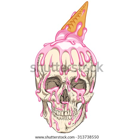 simple skull with ice cream