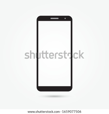 simple smartphone icon vector illustration. Transparent black and white mobile phone.