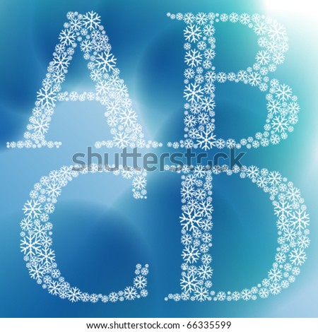 Simple snowflakes alphabet