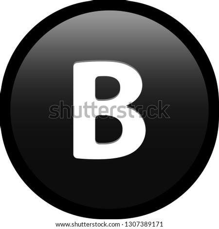 Simple soft Black Greek fraternity alphabet Symbols sign capital letter Β β Beta circle button with inner shadow illustration in vector
