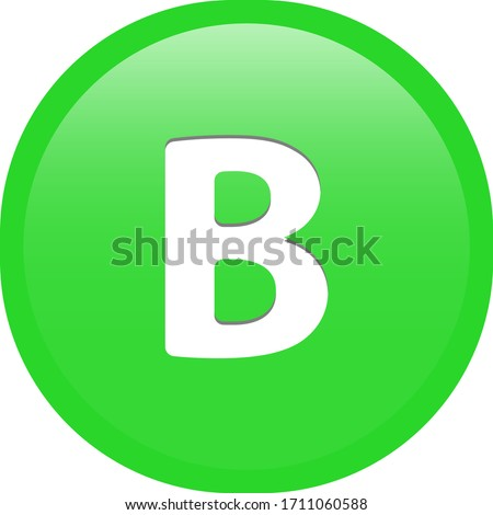 Simple soft green Greek fraternity alphabet Symbols sign capital letter Β β Beta circle button with inner shadow illustration in vector