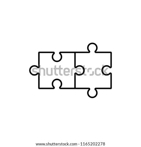 Simple solutions concept, compatibility line icon, assemble puzzle pieces, solving problem
