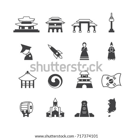 Simple South Korea icons set,Vector