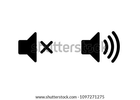 Simple speaker on and muted volume icons, vector illustration