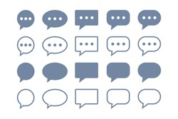 Simple Speech Bubble Chat Talk Icons Set isolated on White Background. Flat Vector Web Icon Design Template Element.