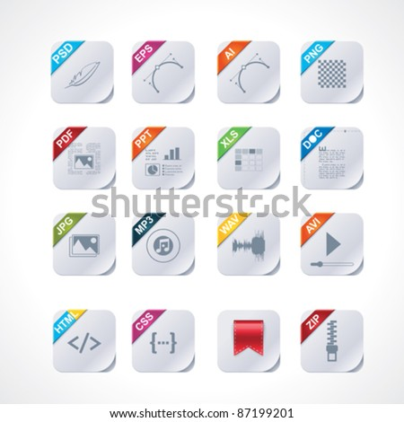 Simple square file labels icon set - stock vector