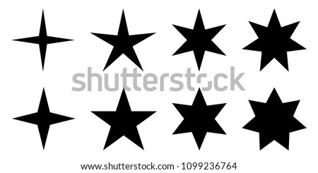 Simple star. 4, 5, 6 and 7 pointed version with two different angles. Photo stock ©