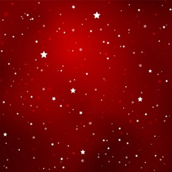 Simple Starry Dark Red Sky with Bright Simple Stars - Vector Illustration