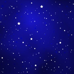 Simple Starry Royal Blue Sky with Bright Simple Stars - Vector Illustration