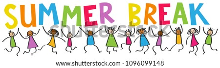 Simple stick figures banner, happy multicultural kids jumping, colorful letters SUMMER BREAK isolated on white background