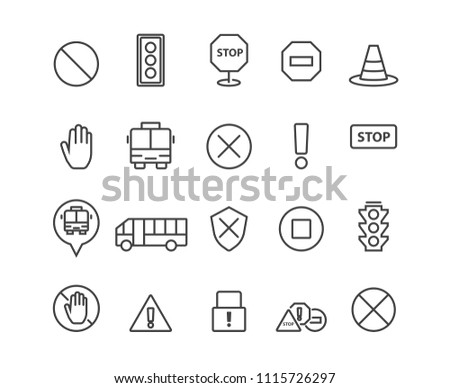 Simple Stop icons set,Vector