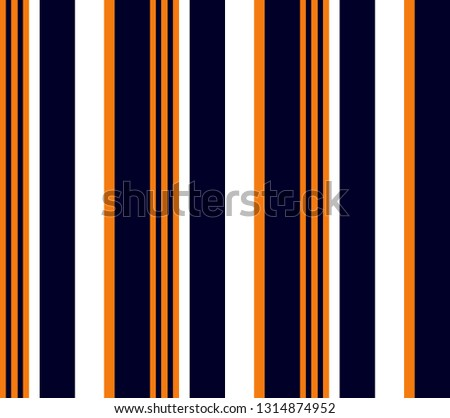 Simple stripe seamless pattern with Orange, White and Navy blue vertical parallel stripes.Vector stripe abstract background.
