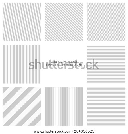 Simple striped patterns, seamless vector backgrounds