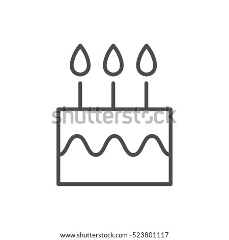 Simple stroke only birthday cake icon for UI or UX design - user to enter birth date
