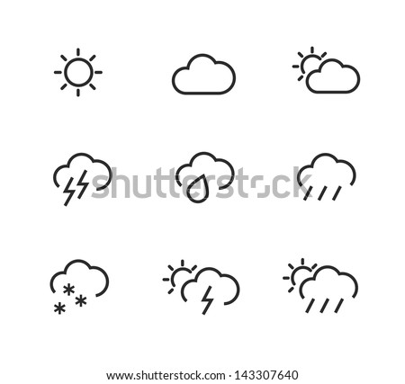 Simple stroked icons. Weather symbols