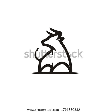 Simple Strong Buffalo Bull silhouette, Matador or Rodeo Long Horn Cattle logo design