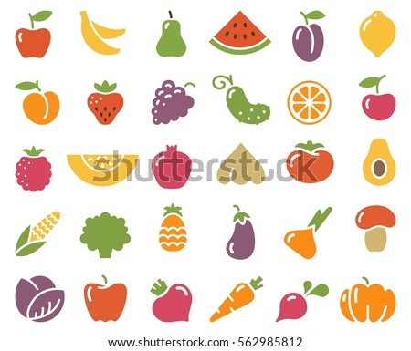 Simple stylized icons of vegetables and fruits.
