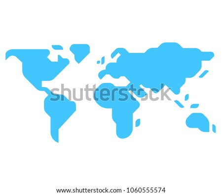 Simple stylized world map silhouette in modern minimal style. Isolated vector illustration.