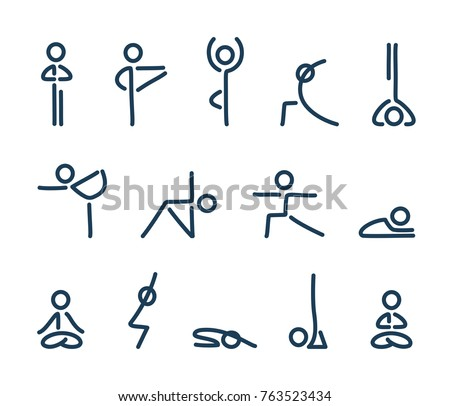 Simple stylized yoga poses icon set. Stick figures in yoga asanas, vector illustration.