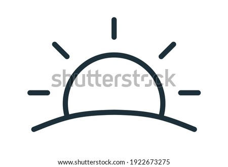 Simple sunset or sunrise icon in line art style. Sun with rays rising or going down over horizon line. Black and white flat vector illustration isolated on white background Foto stock ©