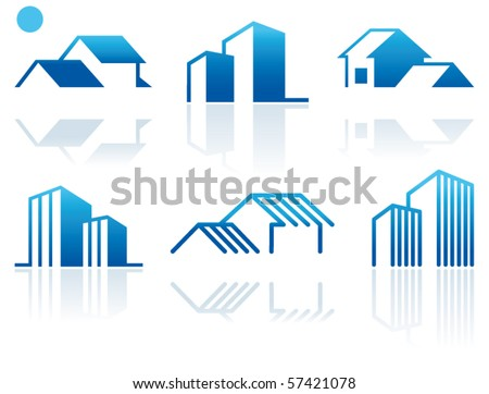 Simple symbols of real estate - stock vector