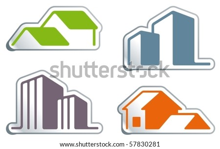 Simple symbols of real estate in the form of stickers - stock vector