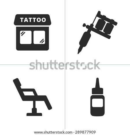Simple tattoo icons including tattoo machine, shop, ink and chair