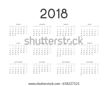 Simple template calendar 2018 in Spanish. Week starts from Monday.