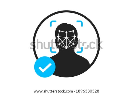 simple thin line face id scan
