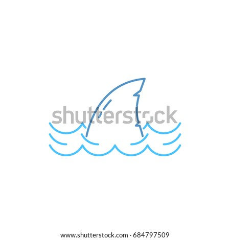 simple thin line shark in wave