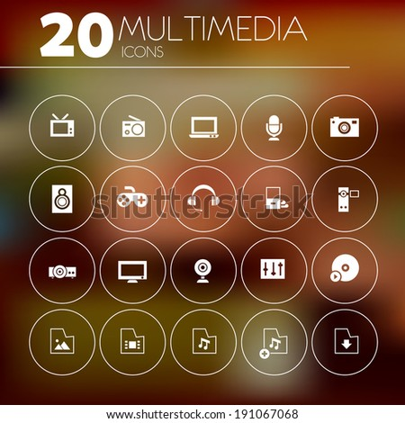 simple thin multimedia icons on