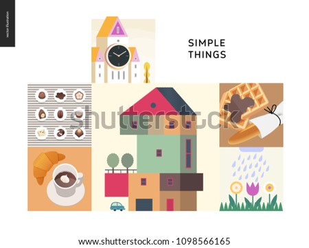 Simple things - color set - flat cartoon vector illustration of clock tower, chocolate sweets and candies, croissant and coffee, countryside house, loaf, waffles, blooming flowers - colour composition