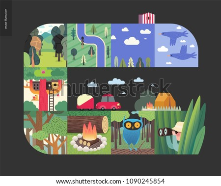 Simple things - forest set on a black background - flat cartoon vector illustration of birds, sky, clouds, top view camp with river, trees, forest, treehouse, woods, woodfire, owl, hunter -composition