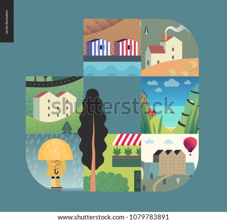 Stock Photo Simple things - houses - flat cartoon vector illustration of landscape, countryside house, seaside, building in town, farm, stripped houses, camp, raincoat, umbrella and rain - houses composition