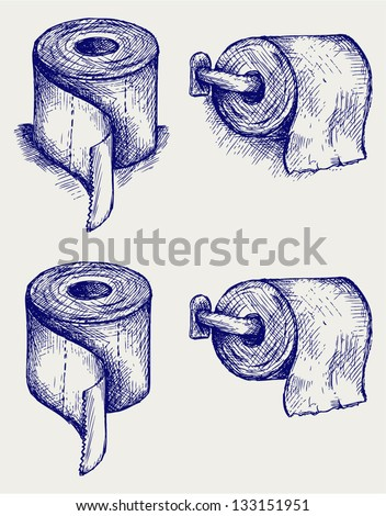 Simple toilet paper. Doodle style