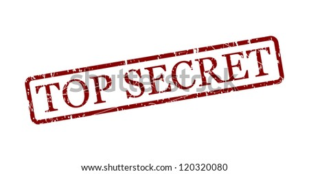 Simple top secret red stamp in a frame isolated on white. Vector image.