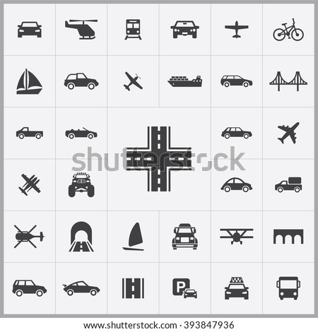 simple transportation icons set