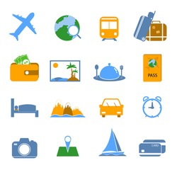 Simple Travel icons. Vector.