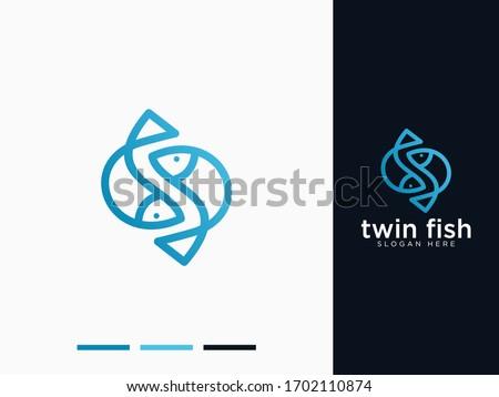simple twin fish modern logo