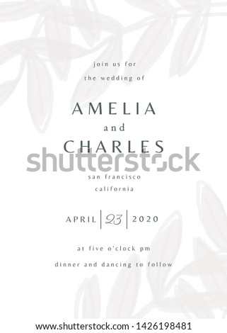 Simple typographical style wedding invitation in white and gray with decorative botanical elements. Modern and stylish 5x7 inches greeting card, save the date, postcard, flyer design.