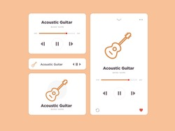 Simple UI music design, accompanied by acoustic  guitar icon