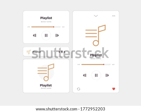 Simple UI music design, accompanied by Playlist icons Photo stock ©