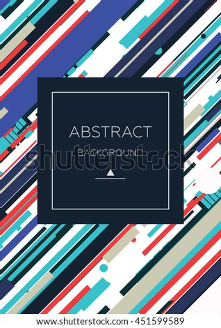 Simple universal geometric design of parallel lines in blue red white colors. Perfect background on poster for book cover magazine layout and other backdrops