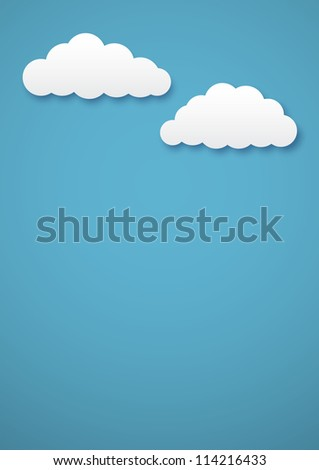 Simple vector background with two cartoon clouds on blue. EPS10 image,