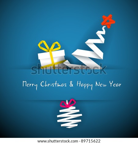 Simple vector blue christmas card with gift, tree and bauble made from paper stripe - stock vector