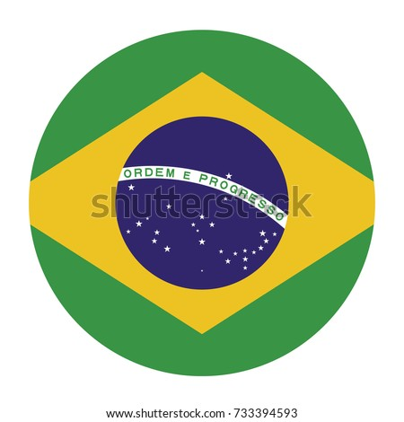 Simple vector button flag - Brazil